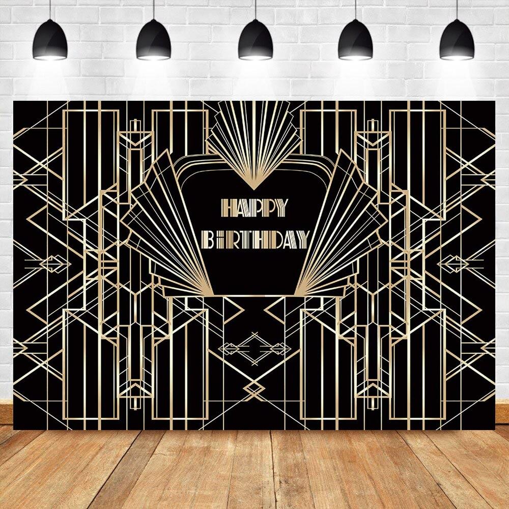 NeoBack Gatsby Birthday Backdrop Retro Great Happy Party Banner Black Gold Photography