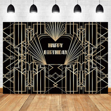NeoBack Gatsby Birthday Backdrop Retro Great Happy Party Banner Black Gold Photography