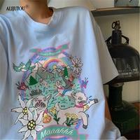 New Crazy Goat Fashion Blue T Shirt Summer Women Harajuku Short Sleeve Fun Cartoon Tshirt Cartoon Graphic Tees 90s Quality Top