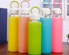 1 UNID creativo Botella de cristal Botella de Agua Drinkware botellas de vidrio Transparente funda de silicona Deporte Fuera de la taza tazas de té J1364