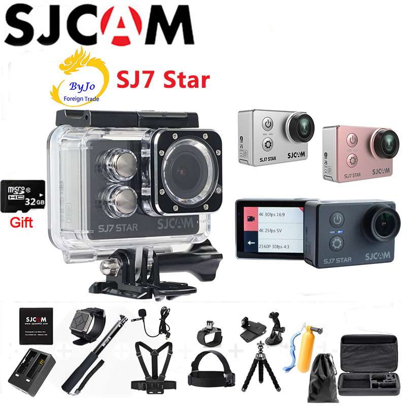 Original SJCAM SJ7 Star Sports Action Camera 4K DV HD 2.0 Touch Screen Waterproof camera sport Car DVR SJ CAM 32G SD card gift