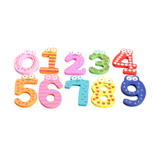 10pcs cute numbers wooden fridge magnetic animal sticker figure toy digital magnet stickers