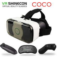 VR Shinecon COCO Headset 3D Virtual Reality Glasses Googles Front Cover Helmet box for 4.5-6′ Mobile Phone with VR Controller
