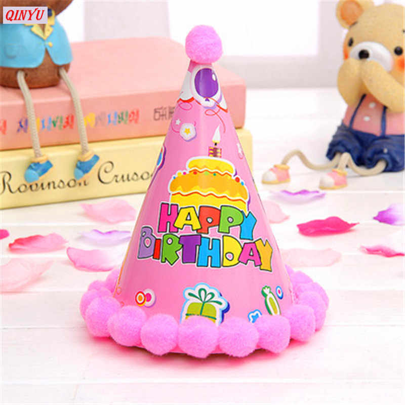 1Pcs Cute Birthday Hat Party Cone Hats Girls First Decorations Paper Cap With