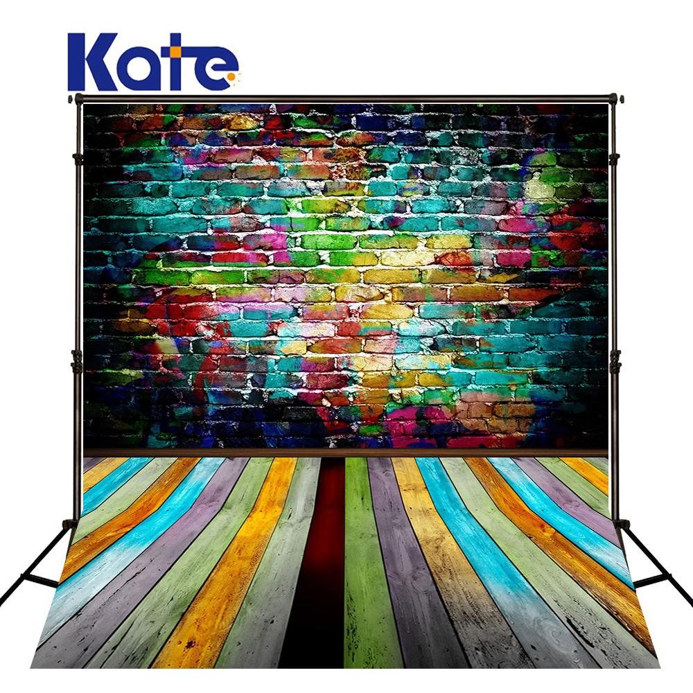 Kate 5X7FT Colorful Brick Wall Wedding Background Wooden Floor Backdrops for Photography Children Backgrounds for Photo Studio