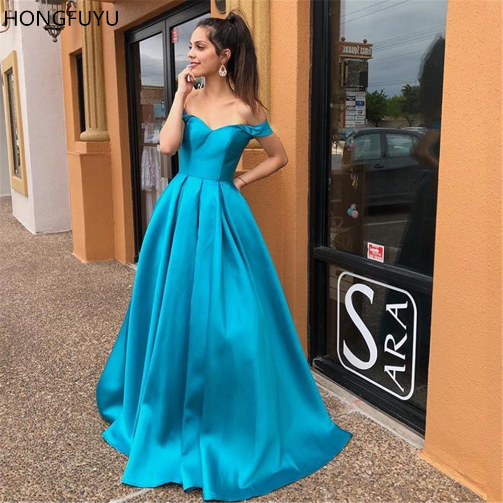 HONGFUYU 2019 Satin A Line Evening Prom Dresses Long Party Formal Wear Off Shoulder Lace Up Backless Pageant Gowns Full Length