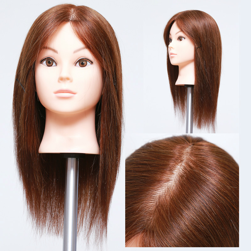 Synthetic Mannequin Head Female Hair Head Doll 22 Inches Mannequin Doll Head Hairdressing Training Heads Styling With Fiber Aesthetic Appearance Hair Extensions & Wigs Tools & Accessories