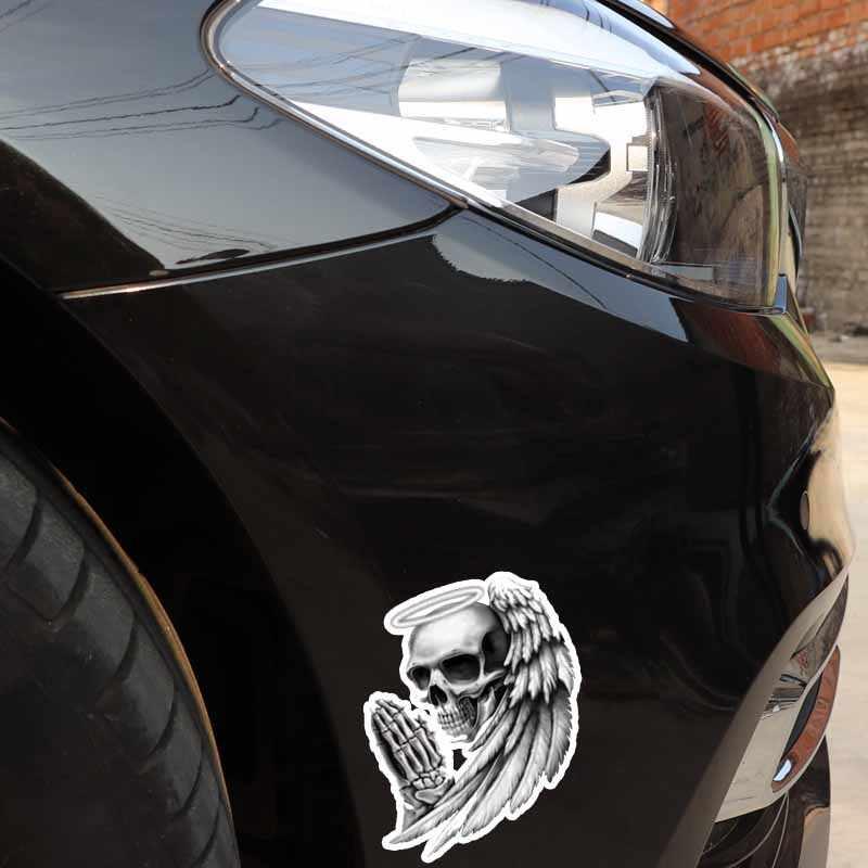 YJZT 9.5 ซม.* 12.7 ซม.บุคลิกภาพ ANGEL OF DEATH SKULL รถสติกเกอร์รถจักรยานยนต์รูปลอก PVC 6-0143
