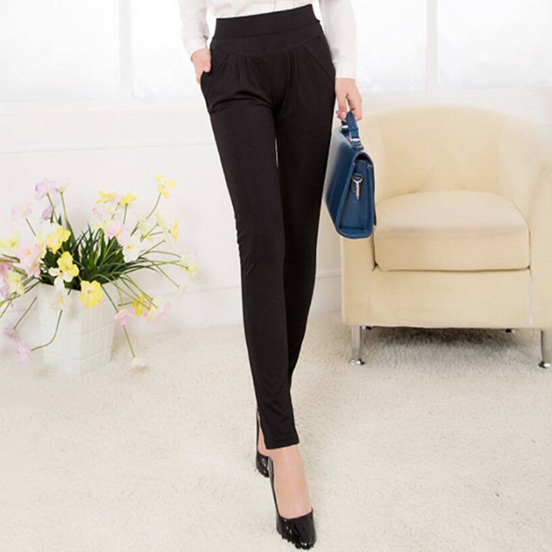 Image 5 - NORMOV Fashion Women Harem Pants Mid Waist Summer Plus Size Loose Classic Trousers Female Pleated Solid Black Female Pants-in Pants & Capris from Women's Clothing