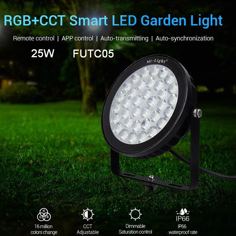 FUTC05 IP66 étanche 25 W RGB + CCT LED lumière de pelouse lampe de jardin LED intelligente compatible avec FUT089 B8 FUT 092 à distance MiBOXER