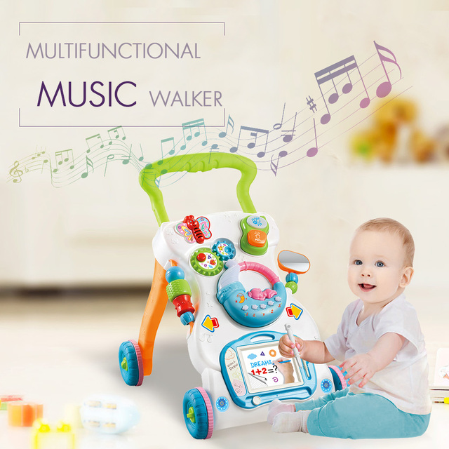 Multifunctional Baby Walker Toys Toddler Trolley Sit-to-Stand ABS Musical Walker with Adjustable Height for Toddler