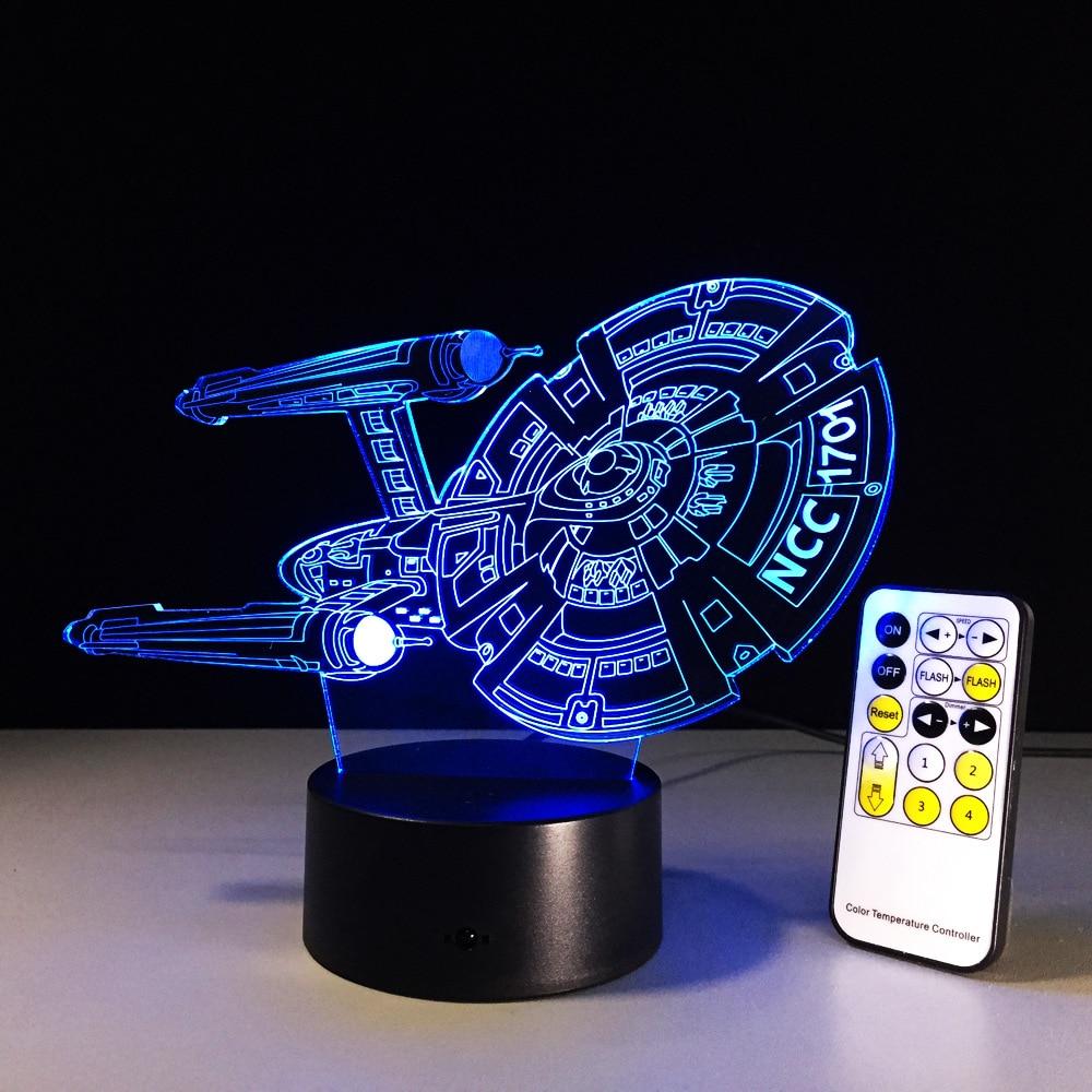 Star Trek USS Enterprise 3D Acrylic LED 7Color Night Light Touch Table Desk Lamp