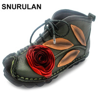 SNURULAN High Quality Women 2017 Autumn Fashion Genuine Leather Handmade Low Heel Vintage Flower Shoes Short