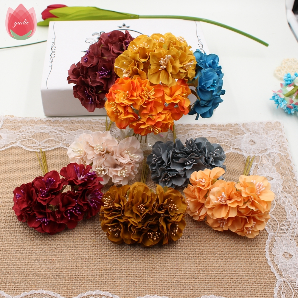 Wholesale 60pcs Vintage Silk 3cm Daisy Artificial Flowers Mini