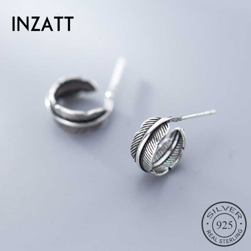 INZATT Real 925 Sterling Silver Vintage Thai Silver Feather Creative Stud Earrings For Women Birthday Party Fashion Jewelry Gift
