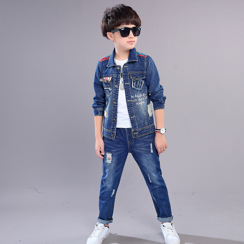 Spring Autumn Teenage Boys Letter Print Denim Jacket Coat+Jeans Pants 2Pcs Suit Kids Casual Clothes Children Clothing Set A48 boys suit new spring autumn teen boys single breasted blazers casual wedding coat jacket children s top clothing kids clothes