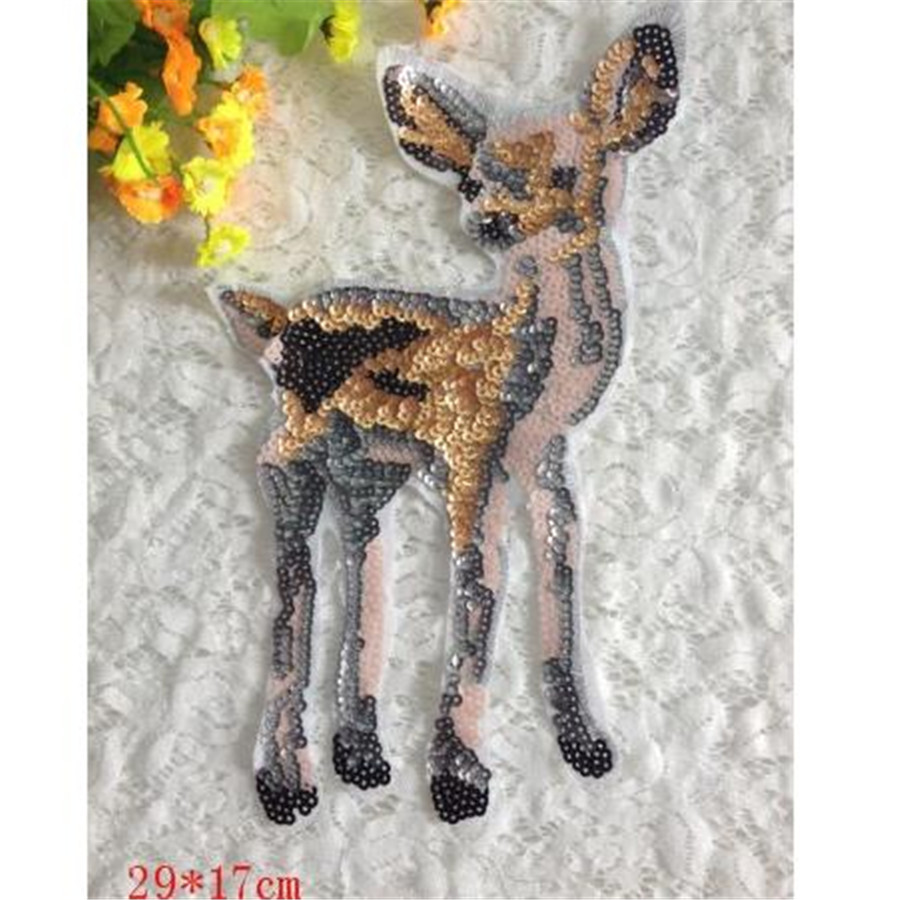 1pcs Animal Designs 29cm Deer Logo Embroidered Big Patches Clothes