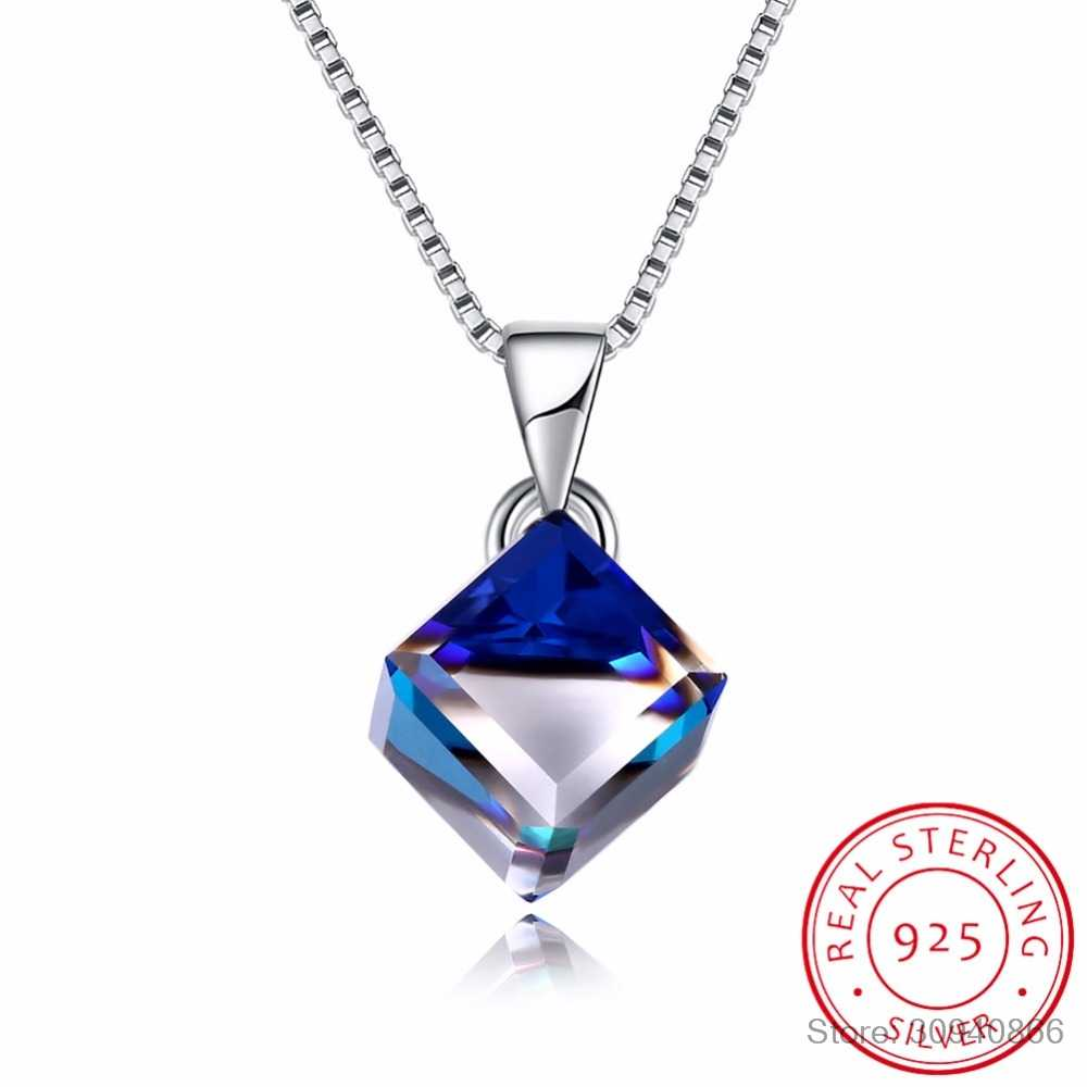 LEKANI Crystal from Swarovski 925 sterling silver Necklace Square Crystal Cube Pendant Necklace Fine Jewelry Female Collares