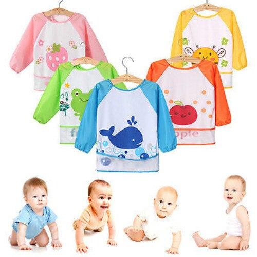 Cute Baby Toddler Waterproof Long Sleeve Bibs Children Kids Feeding Smock Apron