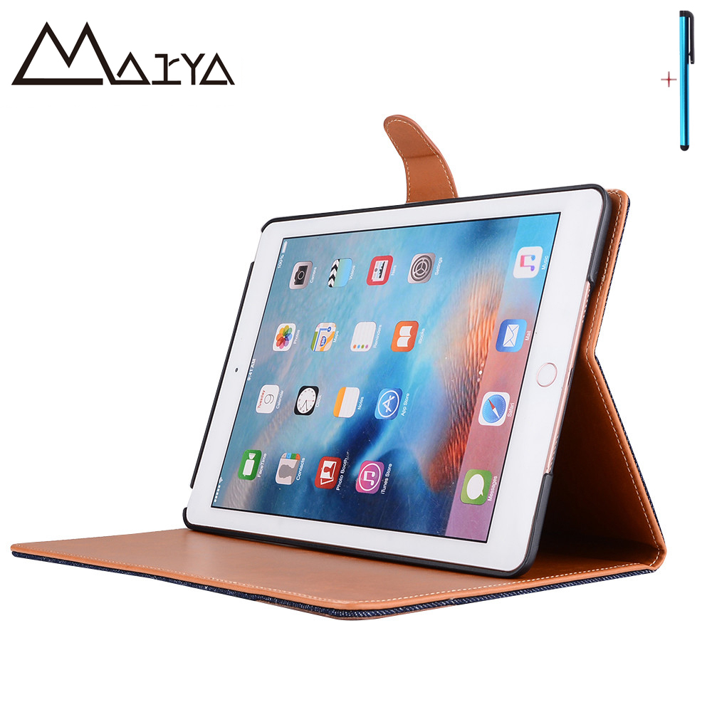 Case For iPad 2017 9.7 inch Tablet Cover Triangle Button Flip Stand Protective Shell PU Leather Case For New iPad 2017 9.7 inch