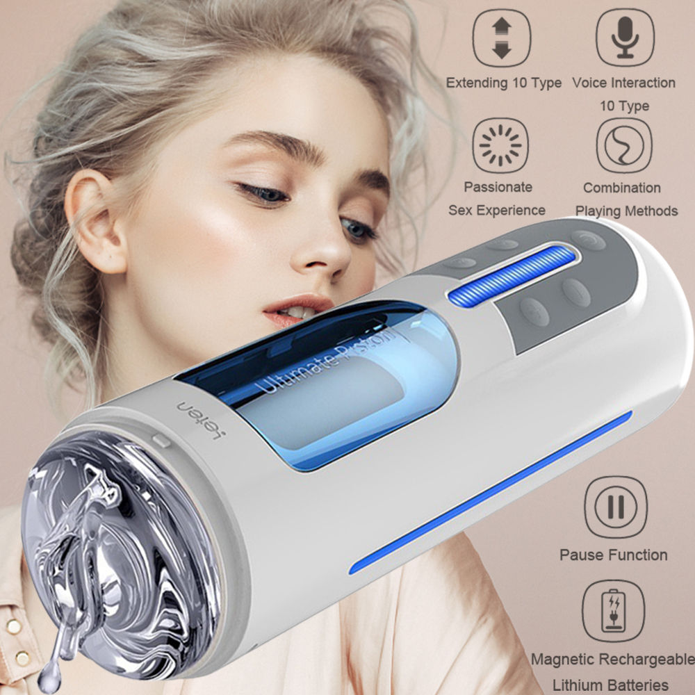 Leten Male Masturbator Sex Toy Vagina Sex Machine Telescopic Rotation Interactive Real Pussy TPE 10 Frequency Voice Aircraft Cup