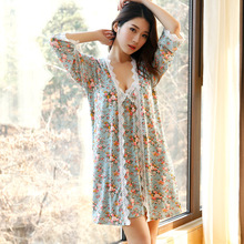 Summer High Quality New Female Lounge Robe & Gown Sets Soft Modal Women 2 Pieces Sleepwear Flower Free Shipping B1168