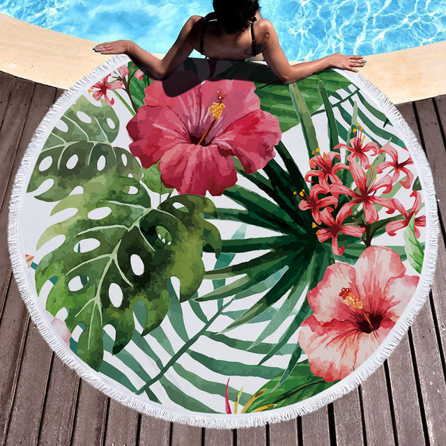 Tropical Plants Microfiber Beach Towel For Yoga Mat Tel Blanket Large Flamingos Round 150cm Tapestry Home Decor