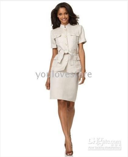 Causel костюм короткий рукав поясом Куртка Сафари и юбка бренд женский костюм модный бежевый костюм Изготавливаем на заказ