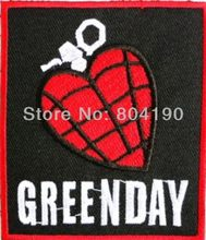 GREEN DAY Jantung Granat Musik Band Heavy Metal Besi/Menjahit Pada Patch Tshirt TRANSFER MOTIF Bordiran Remaja Punk Rock lencana(China)