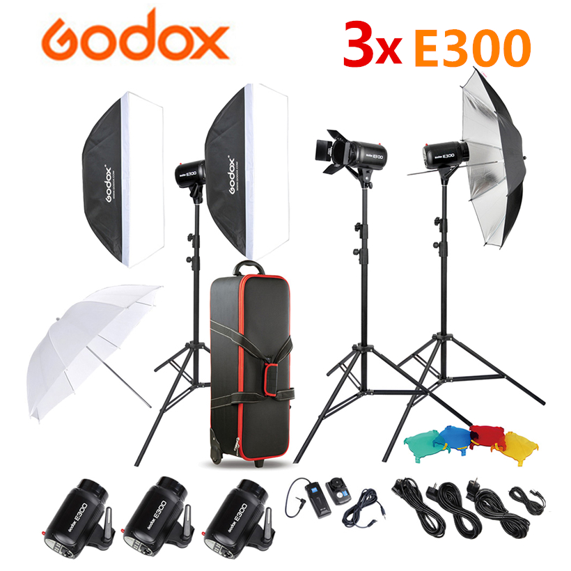 <font><b>Godox</b></font> 3x <font><b>E300</b></font> Photo Studio Flash Speedlite Lighting + Light Stand + Umbrella Softbox + Barn Door Trigger + CB-04 Carry Bag image