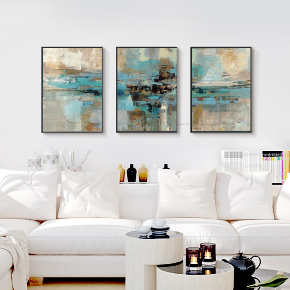 3 piece oil paintings on canvas turquoise paintings decorative wall ...