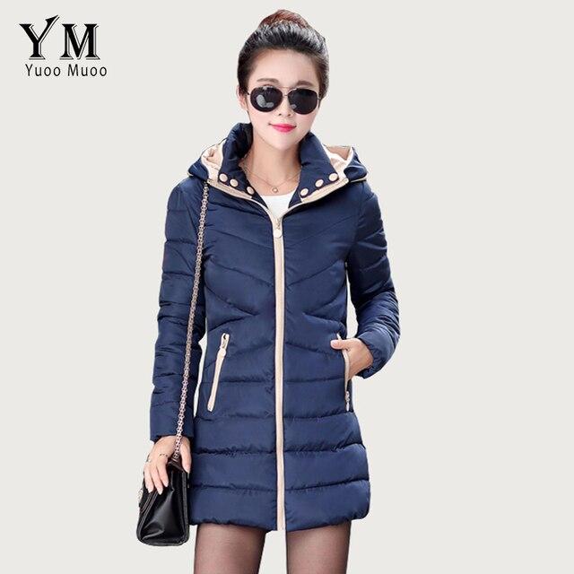 YuooMuoo Плюс Размер Женщин Пальто Хлопка-ватник Зимняя Куртка Женщин Средней длины Вниз Куртка Женская Куртка Повседневная Капюшоном дамы Пальто