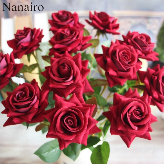 Flannel Real Touch Rose Decoration Rose Artificial Silk large ...