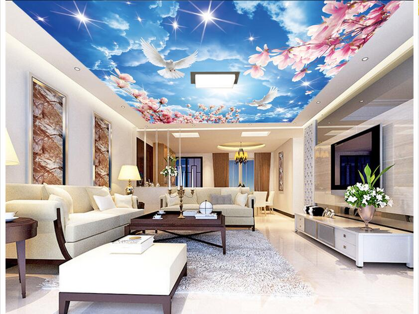 Custom photo 3d wallpaper Non-woven wall sticker 3 d Peach blossom blue sky white cloud  ceiling murals decoration painting blue sky чаша северный олень