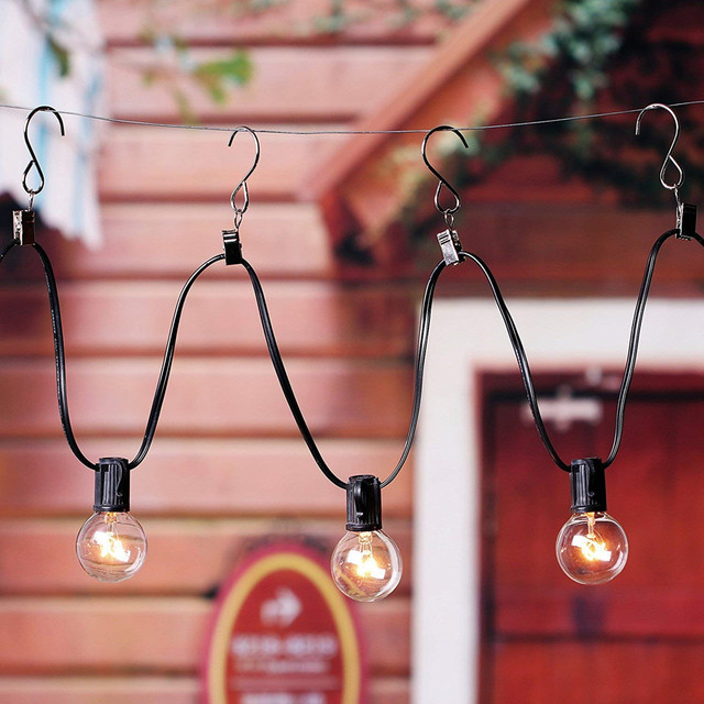 VNL G40 25 Clear Bulbs Festoon Led String Lights Waterproof Outdoor Led Clear Globe Ball String Garland Party Wedding Light Hook