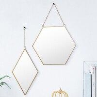 MagiDeal Nordic Wrought Iron Golden Frame Girls Dessing Room Mirror Bathroom Hanging Wall Mirror Elegant Effect 2pcs