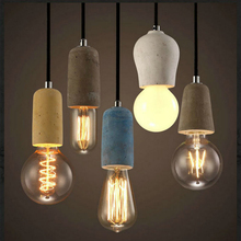 Artpad Industrial Retro Cement Pendant Light Kitchen Bathroom Dining Room Aisle LED Concrete Pendant Lamp E27 Edison Base Holder artpad white black modern design metal pendant lights for dining room kitchen e27 base bird cage retro pendant lamp bar light