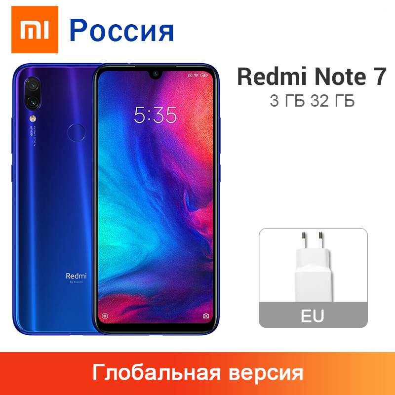 "Original Global Version Xiaomi Redmi Note 7 3GB 32GB Snapdragon 660 Octa Core 48MP Dual Camera 6.3"" 4000mAh Battery Smartphone(China)"
