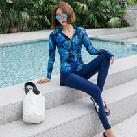 4 piece Women's Rash Guard Sets Long Sleeves Zipper Printed Four Pieces Swimsuits Crew Neck with Bra Swimwear Sun UV UPF50+