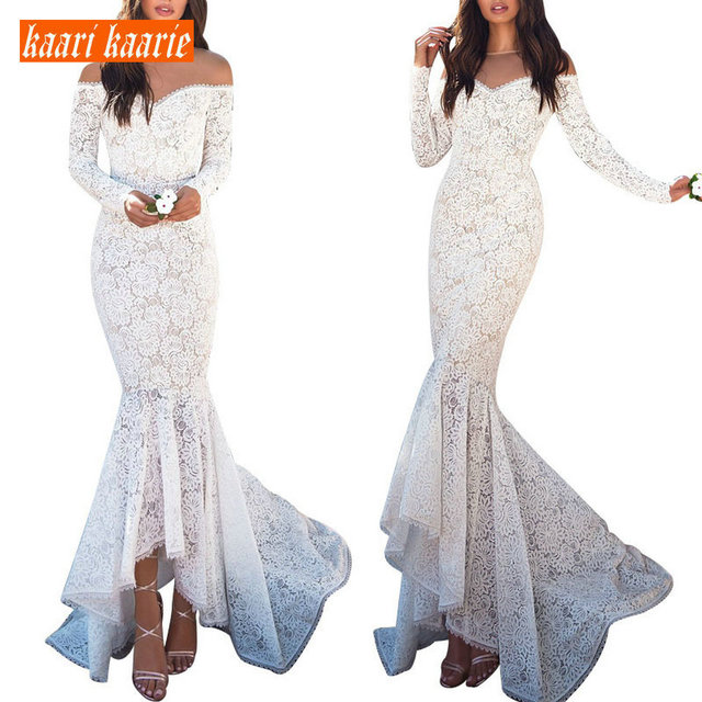 Fashion Beige Mermaid Long Evening Dresses 2019 Sexy Lace Evening Gowns Women Party Sweetheart Long-Sleeve bodycon Club Dress