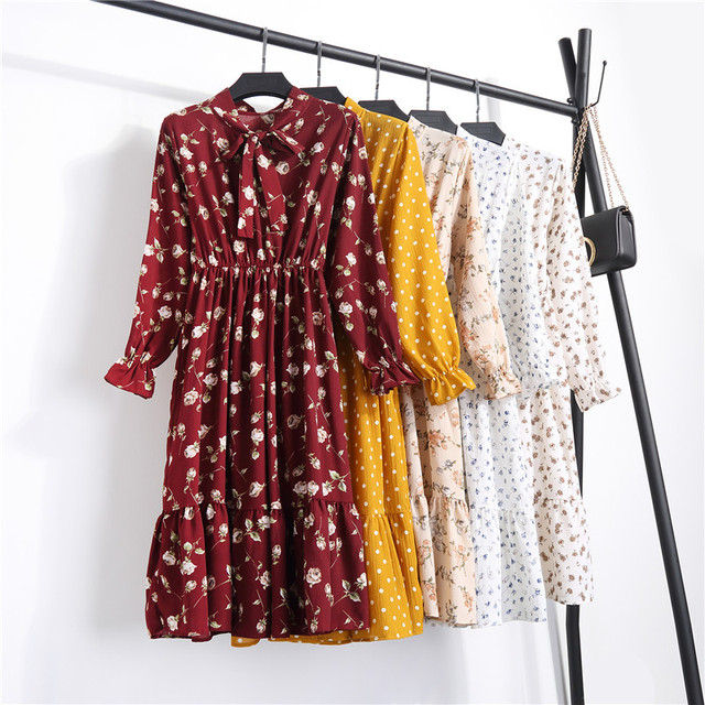 2019 New Summer Women Casual Dress Elastic Waist Pleated Floral Print Chiffon Dress Long Sleeve Vintage Vestidos Robe