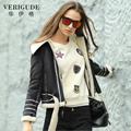 Veri Gude Faux Leather Jacket Faux Fur Short Coat Winter Jacket Women Suede Coat Locomotive Style Warm Jacket