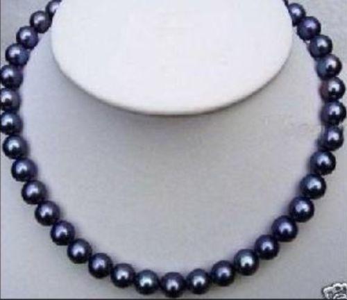 Venda Hot new Style >>>>> excelente 9-10 MM mar do sul da pérola negra colar 17 inch 14KGP fecho