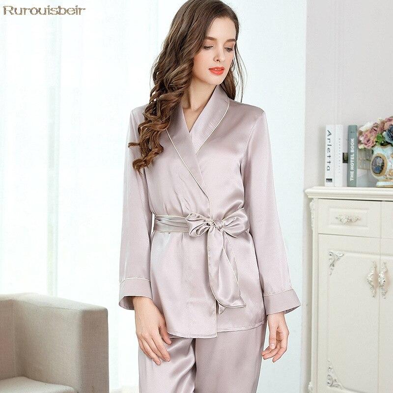 100% атласная Шелковая пижама женские весенние натуральные сексуальные шелковые с длинными рукавами пижамы брюки наборы милые кружевные Эле