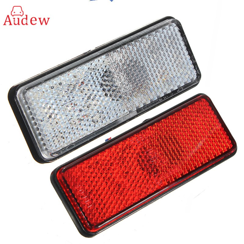 1 Pcs Universal LED Reflector White Red Rear Tail Brake Stop Marker Light For Car Truck Trailer RV Motorcycle With Reflector  1 piece red rectangle red len led reflectors brake light universal motorcycle brake light car brake lights moto stop light