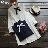New Autumn Casual Sweet Shirt Women S Solid Color Bow Full Sleeved Peter Pan Collar Cotton