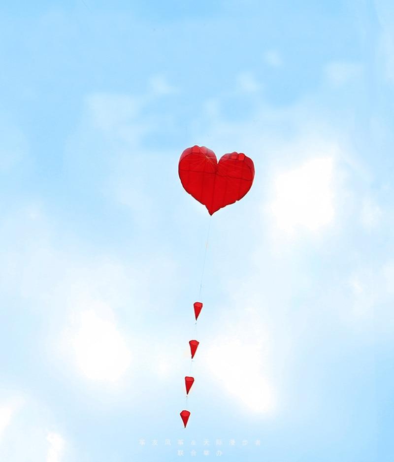 Envío gratis alta calidad 5 m corazón suave cometa con mango línea - Deportes y aire libre - foto 3