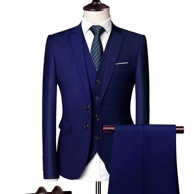 (Blazer+Pants+Vest) Classic Men Formal Business Suit Slim Royal Blue Wedding Groom Wear Male Suit Black Gentlemen Costume M-6XL