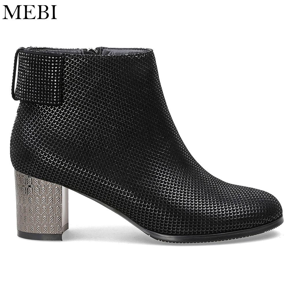 Suede Botines Las Botas Zapatos Moda De Mebi Alta Casual Otoño 2018 Lujo Mujeres Wool Med heeled Calidad wYqU41Bx