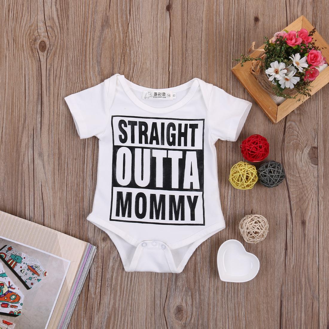 Summer 17 Newborn Kids Baby Girl Boy Clothes Quote Bodysuit Jumpsuit Playsuit Outfit Set 5